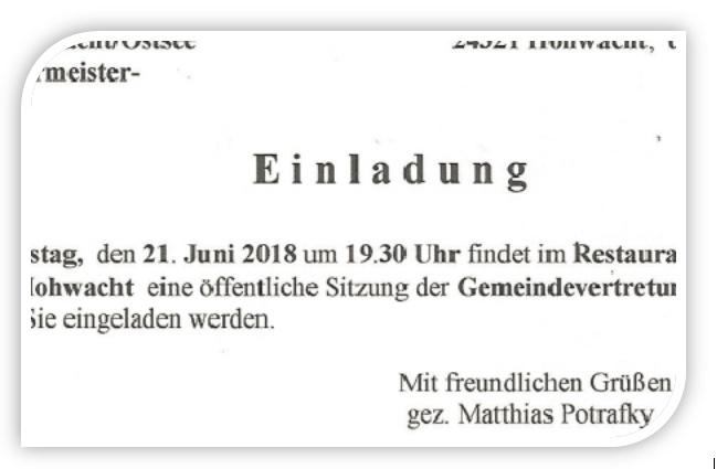 EINLADUNG ZUR BÜRGERMEISTERWAHL!